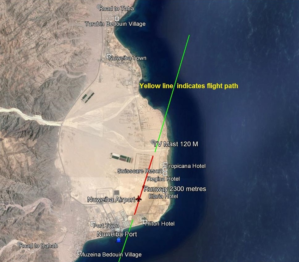 Location of Nuweiba Airport with flight path